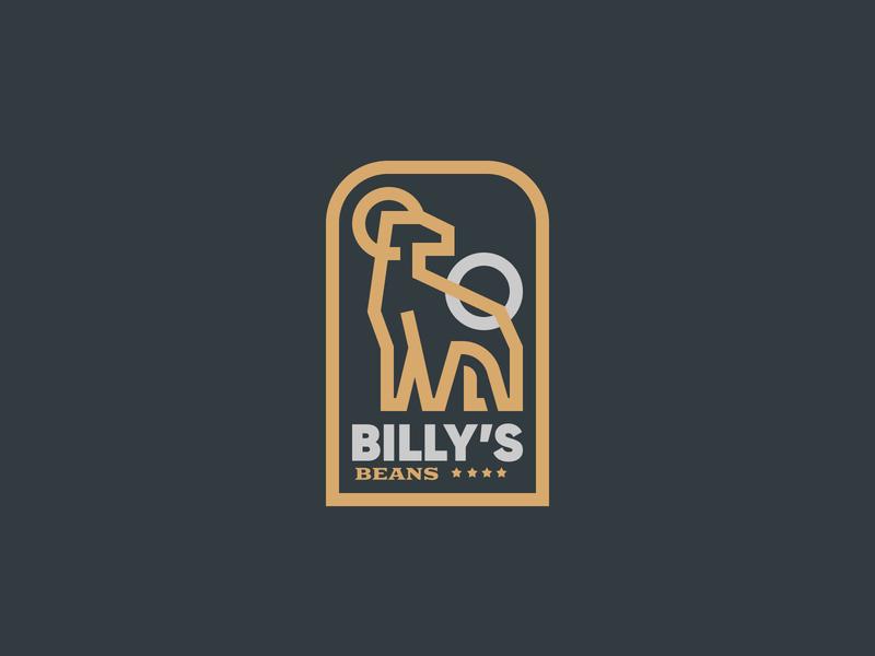 Billy's Beans Coffee beans coffee ram branding icon logo vector art design