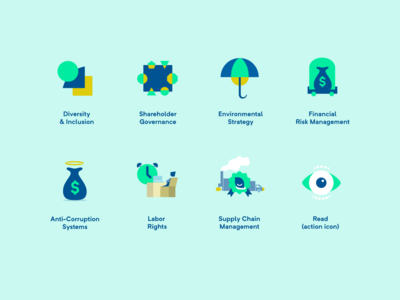 Environmental Social Governance (ESG) initiative icon set