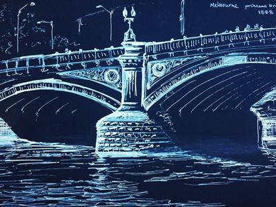 Melbourne Princess Bridge sketch melbourne pen ink