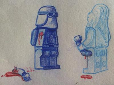 Damn Wookies sketchbook lego star wars wookie chewbacca