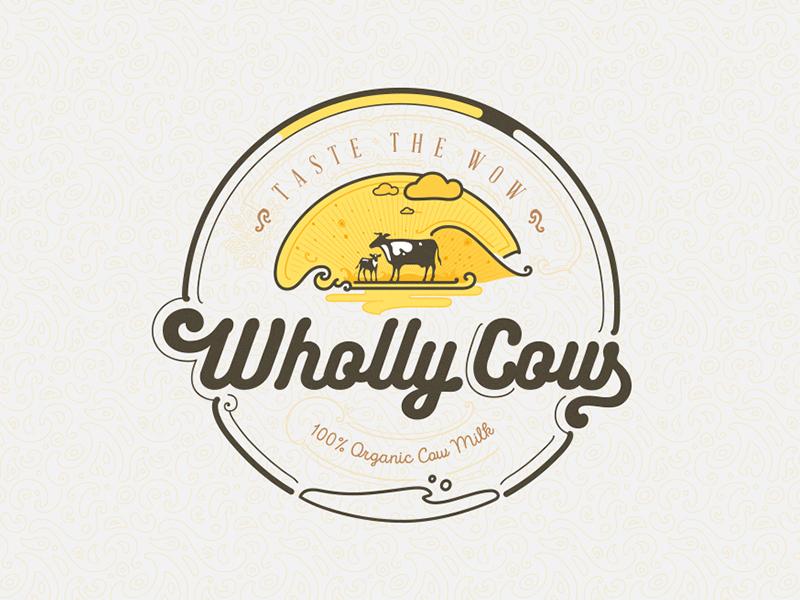 Wholly Cow - Taste the Wow Identity Design identity logo wholly cow milk dairy organic taste wow farm fresh india