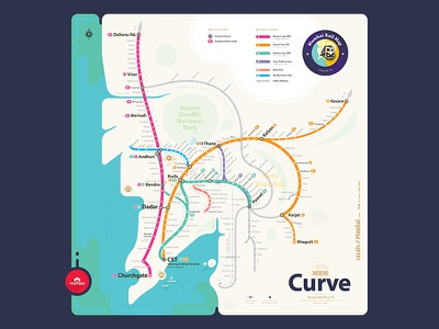 Mrm Curve: Mumbai Suburban Rail Map curve monorail metrorail geographic abstract suburban print india mumbai schematic railway map