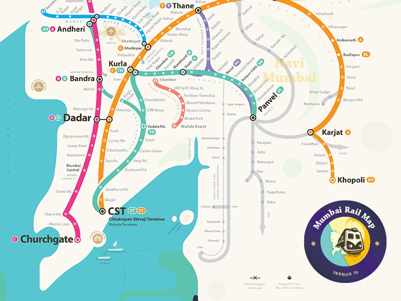 Mrm Curve: Mumbai Suburban Rail Map by jaiki | Dribbble | Dribbble