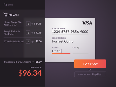 DailyUI - 002 - Credit Card Checkout credit card checkout daily
