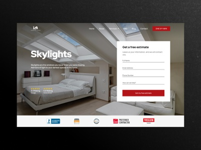 Skylights Roofing Landing Page sections landing page industry build building house home roof solar skylights construction roofing red clean landing design ux figma web ui