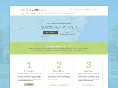 Letsown Home Page homes real estate design responsive ui homepage course website