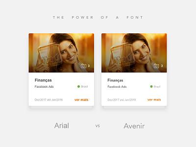 Font Comparison cards avenir arial comparison font