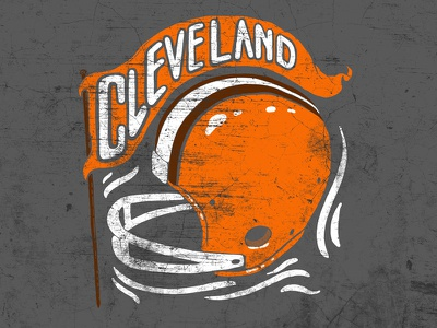 Cleveland Football Helmet illustration banner helmet vintage cle browns football cleveland