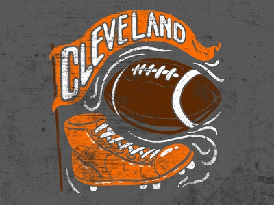 Cleveland Football Vintage Boot illustration banner boot cleats vintage cle browns football cleveland