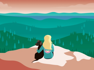 Cup & Saucer Lookout dog girl custom design nature illustration cliff bluff lookout forest nature