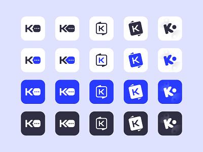 """K"" letters chat chat app blue idea logotype logo mark app icon app icon sketch letters letter"
