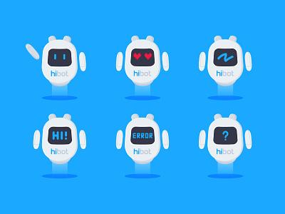 Sticker pack flat animation web app branding vector robot bot character illustration logotype logo telegram sticker