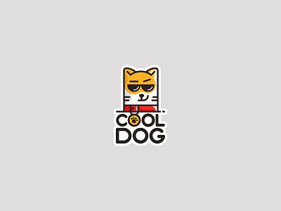 Cool Dog sticker happy glasses animal character dog cool illustration логотип logotype icon mark creative logo