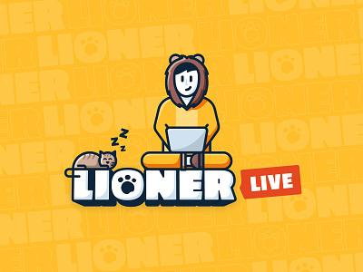 Lioner lioner lion designer work freelancer laptop cat character illustration design логотип logotype creative logo