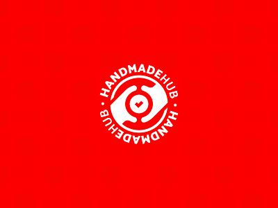 HANDMADE Hub red check handmade hands hand company логотип mark logotype icon creative logo