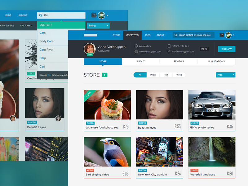 Content webshop UI flat design website webshop e-commerce web app startup content profile sketch app gotham