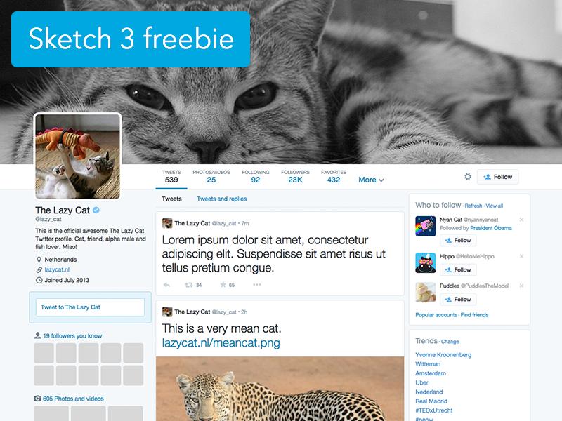 Twitter profile Sketch 3 template free freebie twitter profile mockup template sketch 3 cats