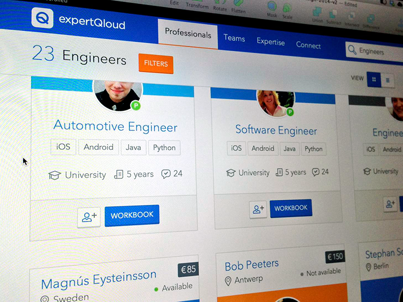 ExpertQloud search professionals ui web app search cards professionals profile website recruitment ux startup