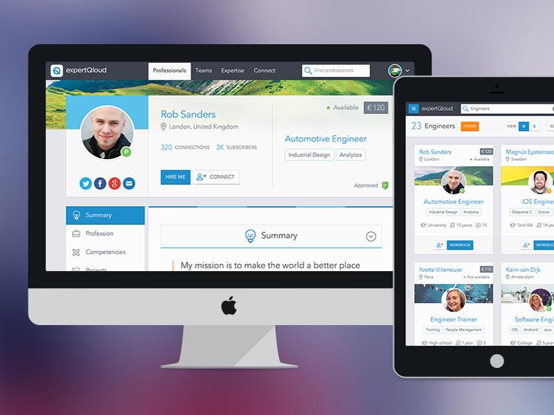 ExpertQloud hero image ui profile ux web app professionals automotive sketch networking