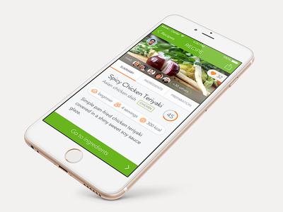 Supermarket app - Recipe detail recipe food iphone ios ui ux app supermarket detail avenir