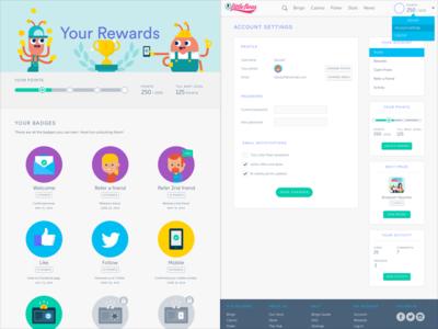 Bingo reviews website - Profile section ui ux rewards settings profile bingo web design website