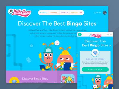 Bingo reviews website - Landing page mobile responsive fleas character ux ui web design website home landing bingo