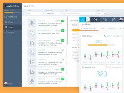 ContentKing web app ux ui analytics seo dashboard web app content king