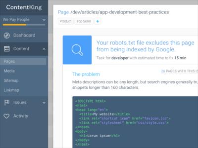 ContentKing detail page modal view analytics dashboard web app code detail ui ux seo
