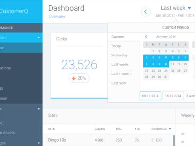 CustomerQ dashboard date picker analytics date picker ui ux bingo dashboard