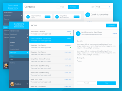CustomerQ dashboard messages view contacts web app ui ux dashboard messages