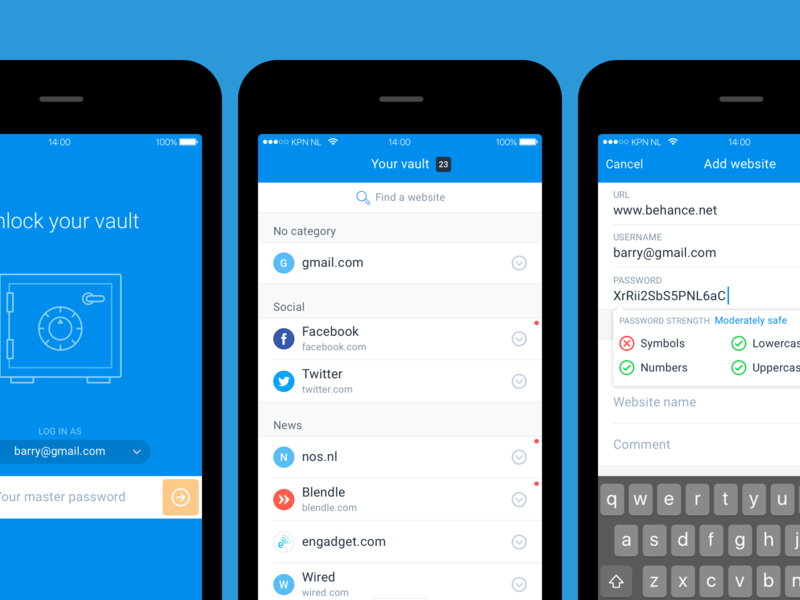 Vaulteq password manager app by Benny Chew for ChipChip on