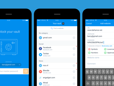Vaulteq password manager app android ios netherlands password manager security app ux ui