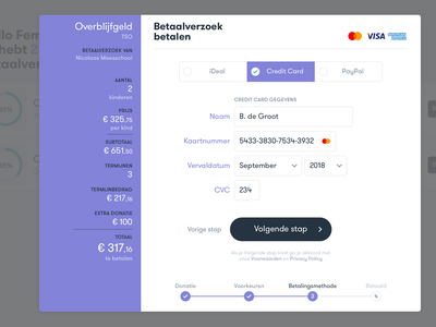 SchoolPay payment screens form ideal credit card payment school finance netherlands ui ux dashboard mobile application