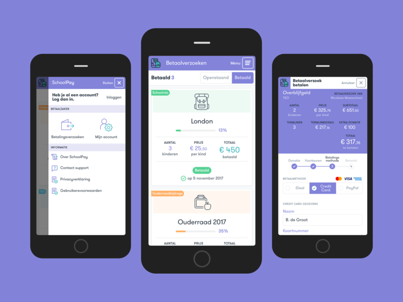 SchoolPay mobile payment screens form payment school finance netherlands ui ux dashboard mobile application