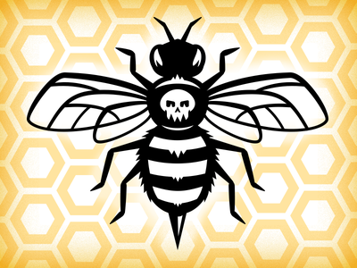 Rudahbee bee skull honeycomb brad ruder rudahbee