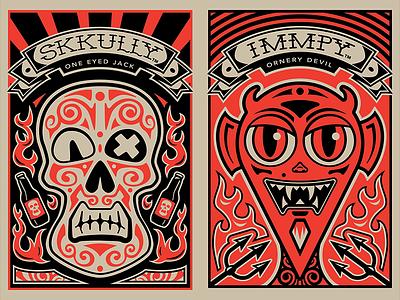 Skkully and Immpy skull tattoo fire imp demon devil bottle opener brad ruder rudahbee