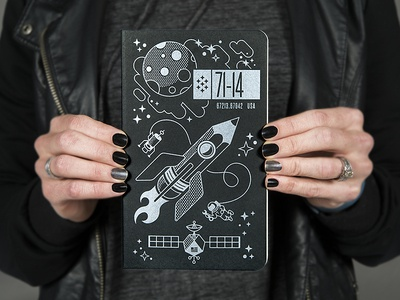 Space Journal rudahbee rocket moon stars satellite moleskin brad ruder