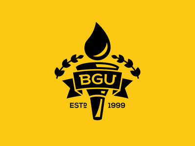 BG University Logo rudahbee brad ruder university automotive torch banner oil funnel education college