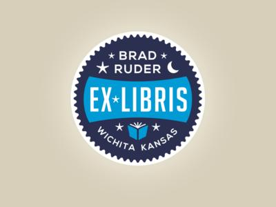 Ex Libris  wichita kansas rudahbee brad ruder ex libris book stars moon