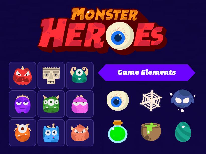 Monster Hero Match 3 Game kit by CreativeRush on Dribbble