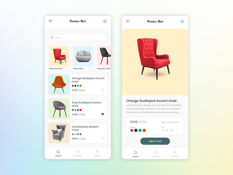 Furniture mart app UI design ux user experience sofa chair ecommerce design ecommerce app cart clean ui minimalist furniture design furniture app furniture application design application app design app ui graphics design creative
