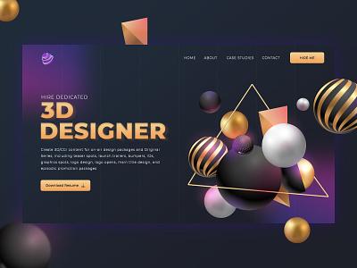 Hire Dedicated 3D Designer creative ux ui modeling art photoshop banners website webdesign hero banner graphic cinema4d blender3d 3d artist 3dsmax 3d art 3d