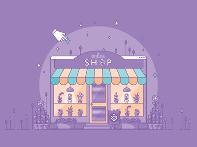 Online Shop flower shop marketing shopify online shop ecommerce plant flowers garden content vector illustration
