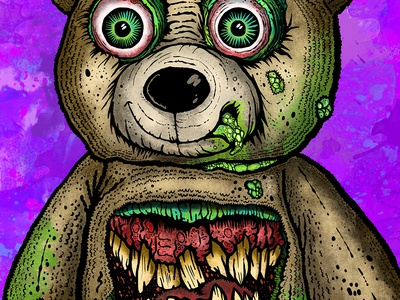 TEDDY BEAR teeth slime clip studio paint digital art teddy bear monster