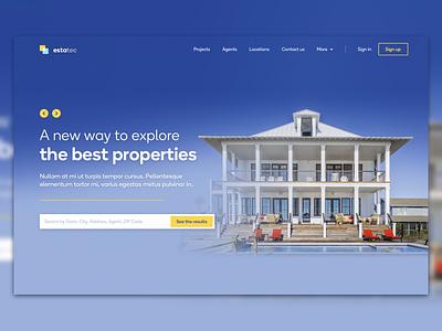 Real estate hero header blue house property ux design ui design ux ui header hero landing homepage real estate
