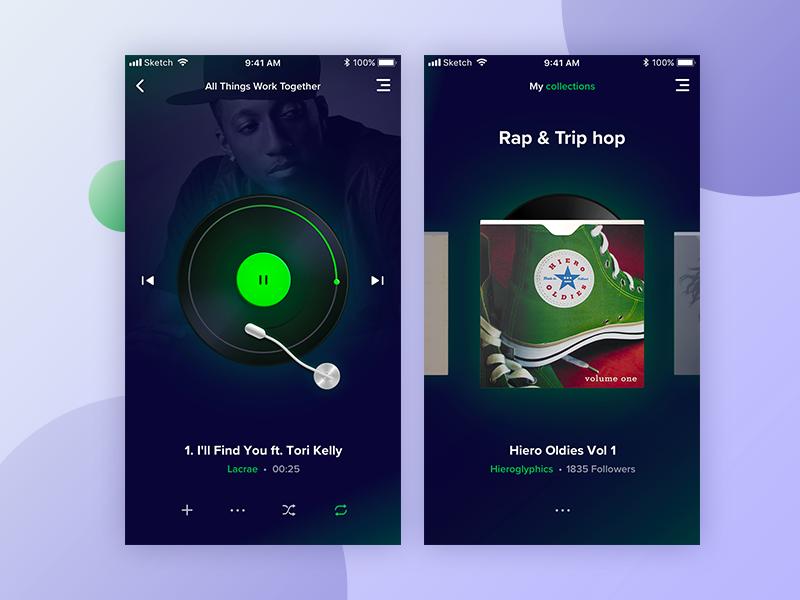 Spotify redesign illustration icon ui ios app playlist lacrae rap player music spotify