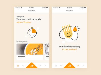 HappyFork p.1 food eat dinner lunch kitchen meal restaurant catering iu app brand hero