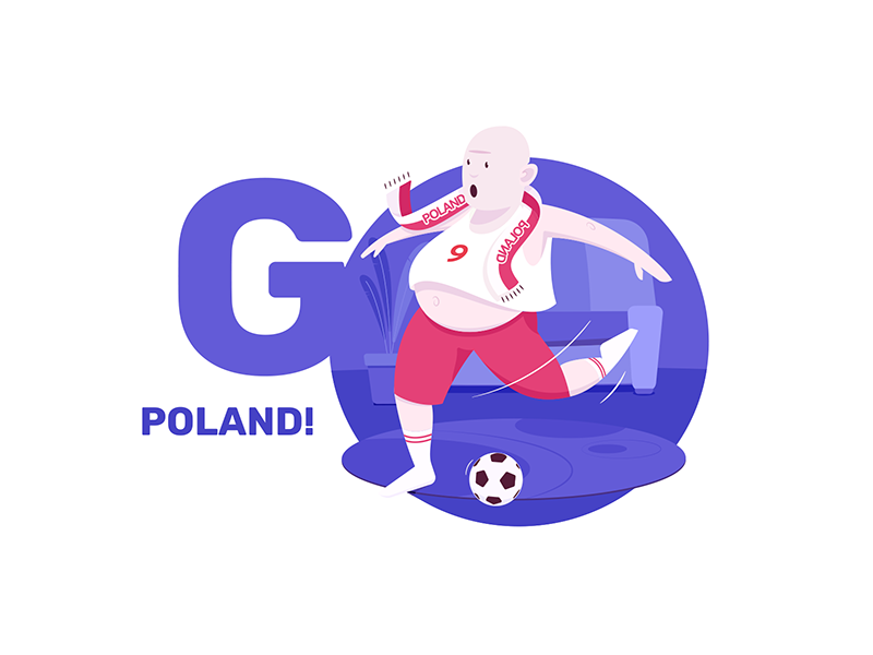 go Poland! violet character illustration russia poland championship world cup football