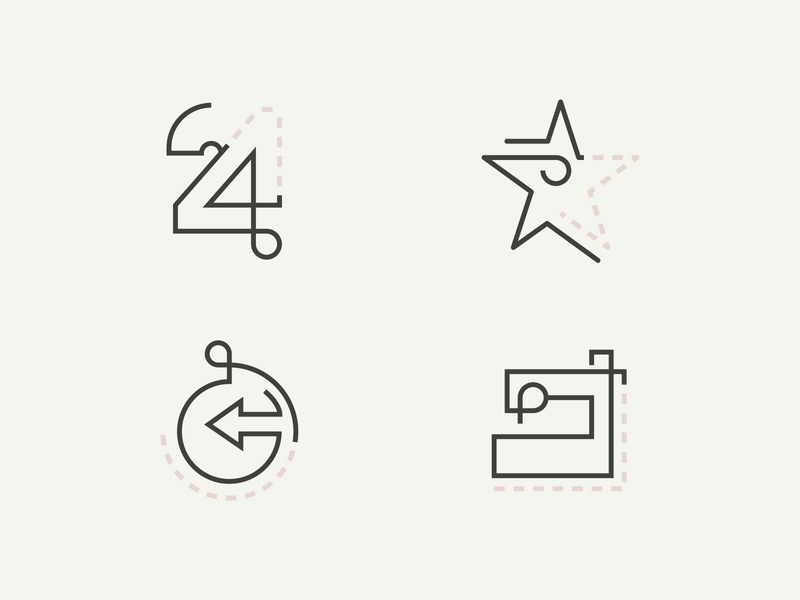 Iconset for fashion brand handmadefont women fashion iconset sewing world 24h star handmade linen icons graphicdesign minimalistic identity design branding vector symbol logo modern