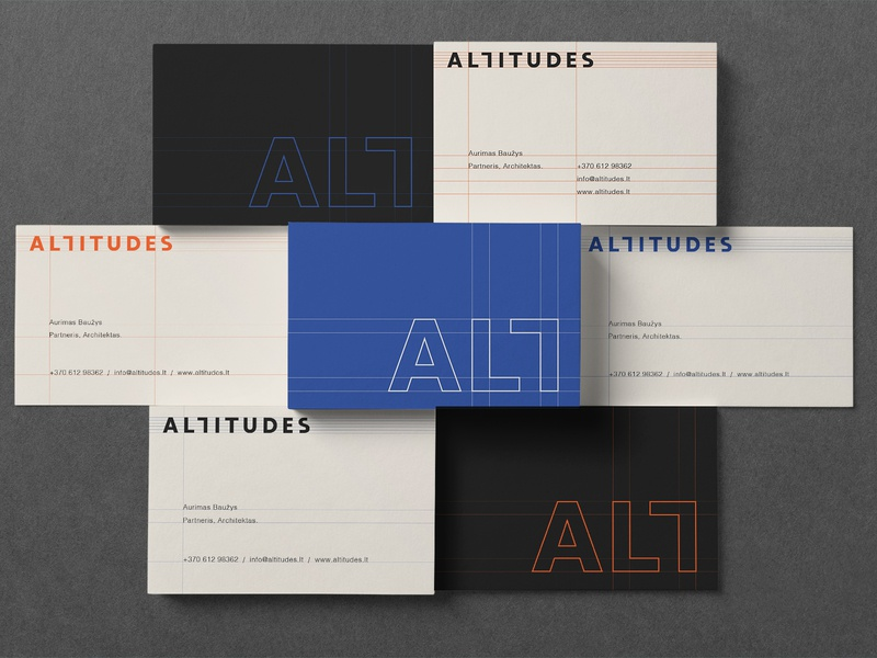 ALTITUDES Business card direction Nr. 1 align contrast black orange blue logotype identity branding modern symbol vector logo minimalistic guideliness monogram modern identity business cards wordmark architect brand architect identity